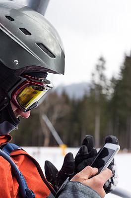 滑雪板,滑雪缆车,运动,极限运动,仅男人,一个人,远程工作,仅一个男人,便携式信息设备,30到39岁