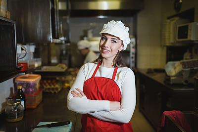 商业厨房,青年女人,专业人员,饮食产业,肖像,商业金融和工业,仅女人,仅一个女人,厨房,注视镜头
