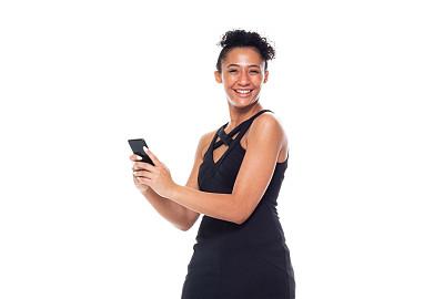 智能手机,女性,黑色连衣裙,黑色,拿着,衣服,电子邮件,背景分离,肖像