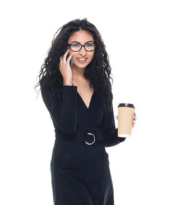 拿着,智能手机,咖啡,女商人,专业人员,咖啡杯,背景分离,技术,一次性杯子