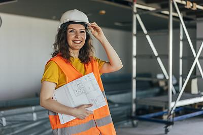 女性,工程师,建筑业,专业人员,砖,肖像,建筑承包商,蓝图,商业金融和工业,拿着