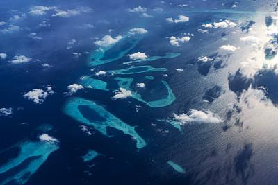 马尔代夫,航拍视角,华贵,热带气候,印度次大陆,印度洋,自然美,飞机,波浪,绿松石色