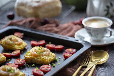 自制的,奶酪,早餐,吐司面包,虾,樱桃番茄,烤盘,清新,咖啡杯