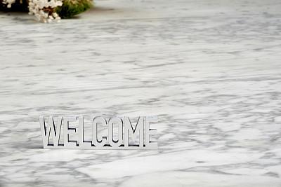 白色,大理石,欢迎标志,背景,短语,周年纪念,字母,地板,建筑物门,大写字母