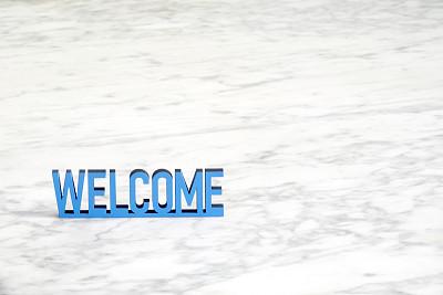 大理石,蓝色,欢迎标志,背景,短语,周年纪念,字母,地板,建筑物门,大写字母