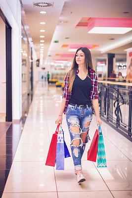 购物中心,乐趣,少女,自然美,中心,城市生活,肖像,一个人,拿着,儿童