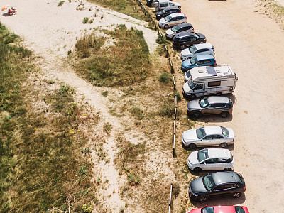 停车场,海滩,旅行拖车,沥青,汽车,交通方式,逃避现实,设备用品,海滩度假,夏天