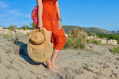 女人,沙子,海洋,足,商务,热,土耳其,热带气候,一个人,安塔利亚省