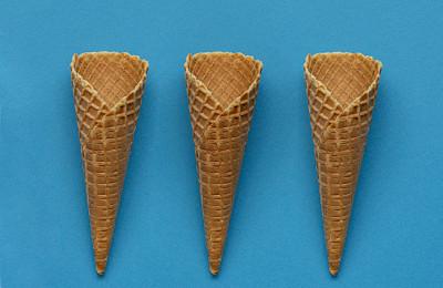 冰淇淋蛋卷,华夫饼,寒冷,空的,清新,背景分离,食品,甜点心,甜食,圣代