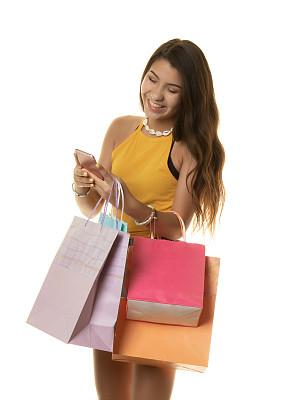 手机,女孩,购物袋,可爱的,一个人,仅青少年,便携式信息设备,欢乐,礼物,少女