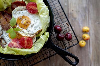 莴苣,自制的,熏猪肉,早餐,酸奶,小圆面包,清新,舒服,食品