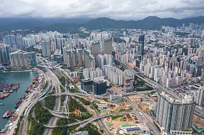 公寓,拥挤的,房屋建设,现代,著名景点,无人机,商业金融和工业,九龙半岛,背景,复杂性