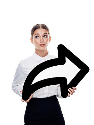 箭头符号,拿着,平衡折角灯,女孩,垂直画幅,网络服务器,男商人,想法,白色