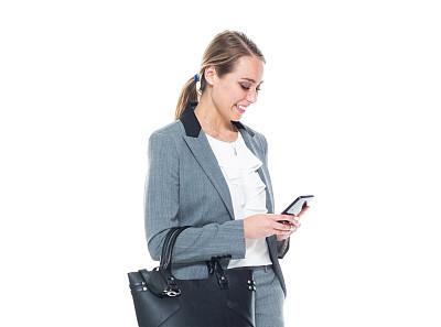 拿着,智能手机,女商人,套装,自然美,衣服,电子邮件,专业人员,背景分离,25岁到29岁