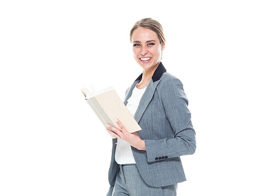 拿着,书,女商人,套装,自然美,衣服,商务,专业人员,背景分离,一个人