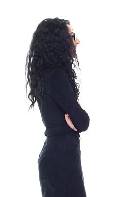 女商人,紧握双手,商务,专业人员,背景分离,无法辨认的人,一个人,背面视角,女人