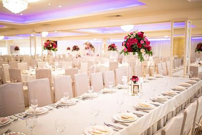 婚礼,餐馆,浪漫,华丽的,事件,烛台,华贵,椅子,餐具,桌布
