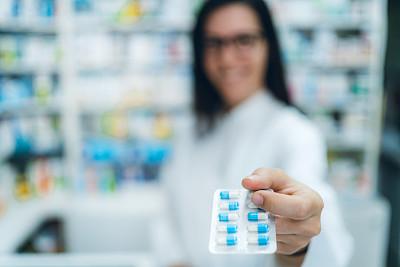 女性,健康保健,药剂师,吸塑盒包装,健康保健工作人员,专业人员,部分,医药职业,药,药丸
