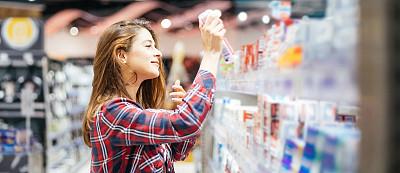 防晒霜,女人,股票,肖像,瓶子,顾客,晒黑,仅女人,仅一个女人,购物车