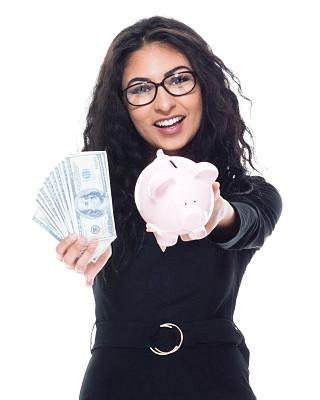 小猪扑满,女商人,拿着,背景分离,肖像,商业金融和工业,存钱罐,拉美人和西班牙裔人,影棚拍摄