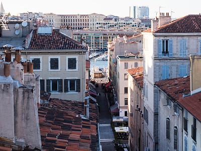 马赛旧港,公寓,摄像机拍摄角度,马赛,欧洲,建筑外部,法国,图像,船,透过窗户往外看