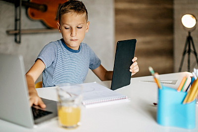技术,知识,理想化的,现代,小学,儿童,原生数字,住宅内部,童年,半身像