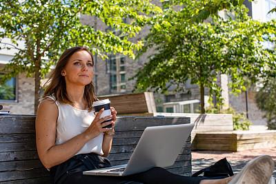 女人,热饮,饮料,仅成年人,青年人,专业人员,技术,可持续生活方式,计算机,马克杯