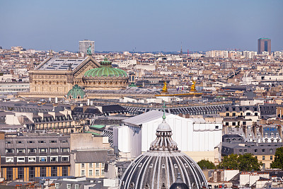 Aerial view of the Palais Garnier (or Opéra Garnier), a 1,979 seat opera house, which was built from 1861 to 1875 in the 9th arrondissement of Paris for the Paris Opera.