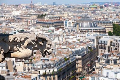 城市天际线,怪兽饰,巴黎,从上面看过去,国际著名景点,法国,著名景点,歌剧院,屋顶,哥特式风格