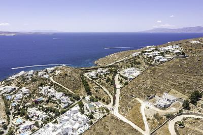 米克诺斯岛,希腊,航拍视角,热带气候,希腊诸岛,无人机,圆顶建筑,海岸线,地中海,海滩度假