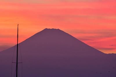 富士山,游艇,海港,看风景,海湾,云景,世界遗产,云,黄昏,户外