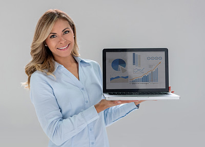 拿着,女商人,笔记本电脑,商务,计算机,社会化网络,肖像,一个人,技术,女人