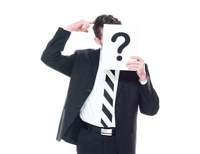 问号,男商人,标志,衣服,在之后,男性美,商务,经理,专业人员,背景分离