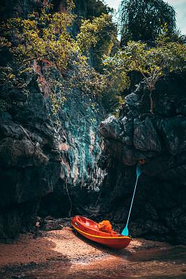 皮划艇,停泊的,鸡尾酒,岛,风景,热,云景,彩色背景,热带气候,颜色处理