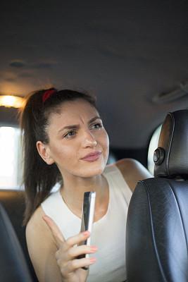 女孩,智能手机,出租车,青年女人,专业人员,汽车,肖像,技术,现代,儿童