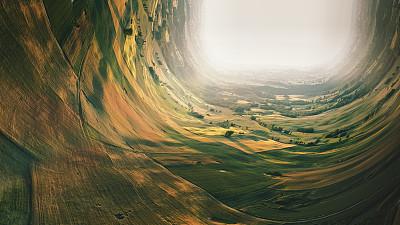 田地,地形,秘密,超现实主义的,图像处理,弹性,技术,云,无人机,想法