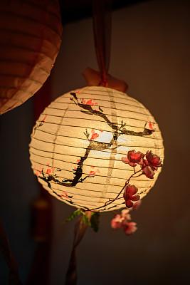 樱花,传统,华丽的,灯笼,春节,纸灯笼,长的,云,模板