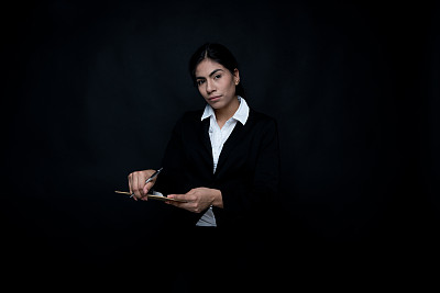 写字板,女商人,自然美,拿着,商务,专心,经理,检查表,女人,青年女人