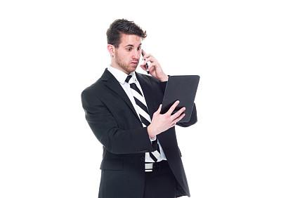 男商人,平板电脑,衣服,男性美,看,专业人员,背景分离,技术,25岁到29岁,商业金融和工业