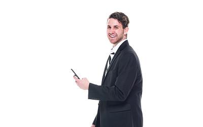 智能手机,男商人,青年人,衣服,拿着,电子邮件,专业人员,背景分离,肖像