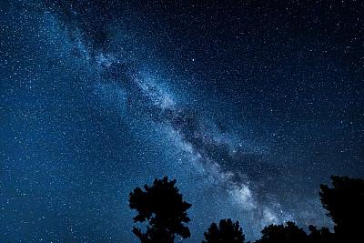 星系,天文学,银河系,暗色,仅天空,小的,自然美,松树,户外活动,户外
