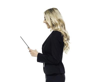 女商人,药丸,金色头发,商务,专业人员,计算机,背景分离,平板电脑,一个人