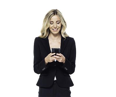 智能手机,女商人,金色头发,电子邮件,专业人员,背景分离,商业金融和工业,影棚拍摄,仅女人