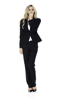青年女人,20到29岁,全身像,商务人士,白色背景,女商人,套装,女性,成年的,衣服