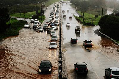 水灾,路,气候,沥青,暗色,汽车,交通,公路,不关心,暴风雨