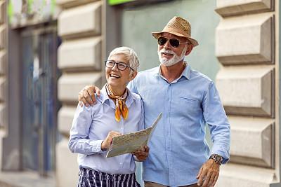 老年男人,旅行者,街道,伦敦城,妻子,公亩,拿着,旅途,浪漫,户外