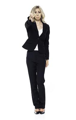 一个人,青年女人,20到29岁,全身像,商务人士,白色背景,女商人,大拇指朝下,套装,女性