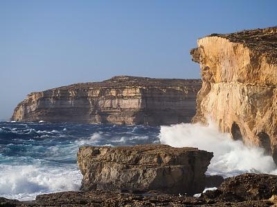 地中海,悬崖,戈佐岛,旋风,窗户,两只动物,环境,著名景点,自然美,海岸线