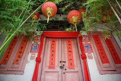 门,粉色,寺庙,春节,过时的,华丽的,灯笼,中国灯笼,复古风格,古董
