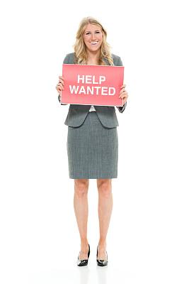 经理,一个人,青年女人,20到29岁,金色头发,全身像,裙子,幸福,商务人士,白色背景